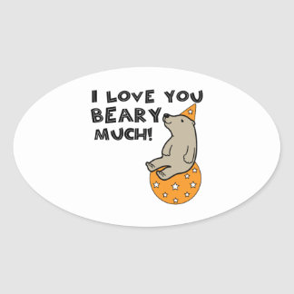 Love You Beary Much Oval Sticker