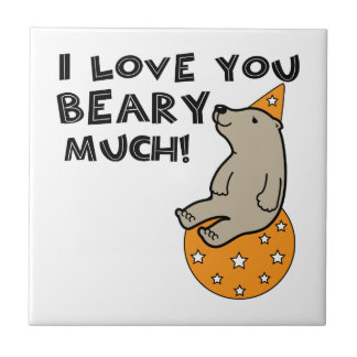 Love You Beary Much Small Square Tile