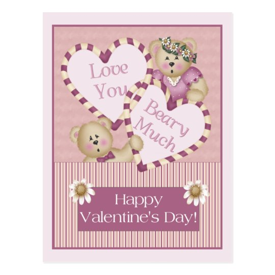 Love You Beary Much Valentine's Day Postcard