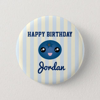 Love You Berry Much Cute Blue Berry Birthday Party Pinback Button