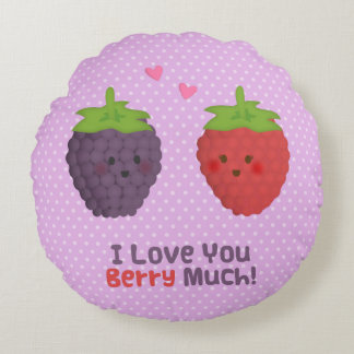 Love You Berry Much Pun Humor Polka Dots Round Pillow
