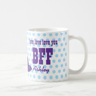 Love You BFF Purple Butterfly Blue Polka Dots V05 Coffee Mug