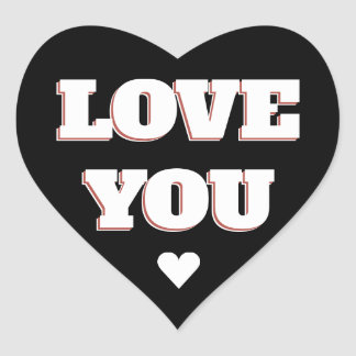 Love You Black And White Heart Wedding Sticker