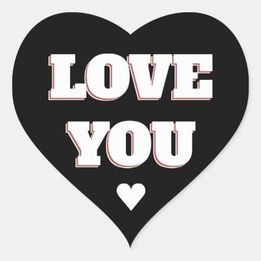 Love You Black And White Heart Wedding Sticker Zazzle