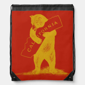 Love You California--Red and Gold Drawstring Backpack