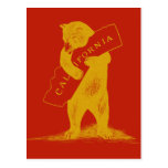 Love You California--Red and Gold Postcard