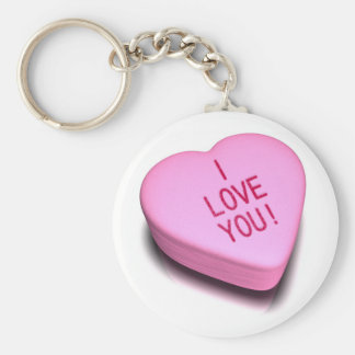 Love You Candy Basic Round Button Keychain