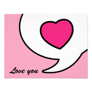 Love you card - pink personalized announcement