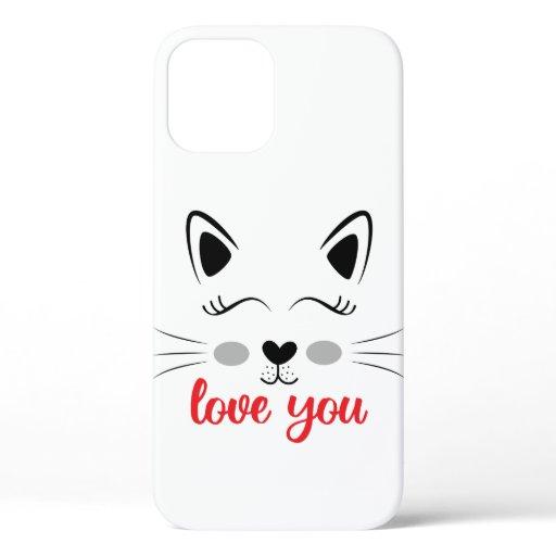 Love you cat iPhone 12 case