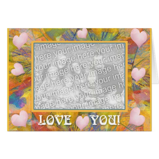 Love You Crayon Abstract & Hearts Card