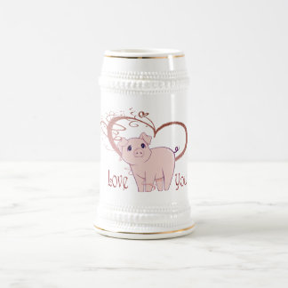 Love You, Cute Pig and Swirl Heart Beer Stein