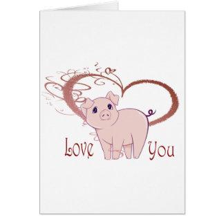 Love You, Cute Pig and Swirl Heart Card