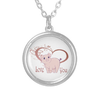Love You, Cute Pig and Swirl Heart Round Pendant Necklace