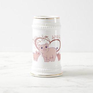 Love You, Cute Piggies Art Beer Stein