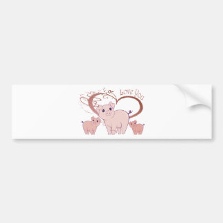 Love You, Cute Piggies Art Bumper Sticker