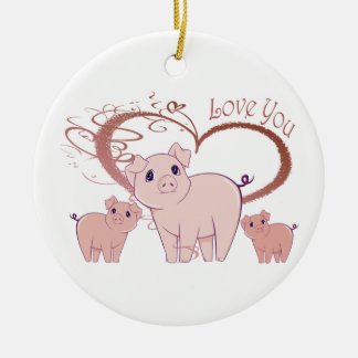 Love You, Cute Piggies Art Double-Sided Ceramic Round Christmas Ornament