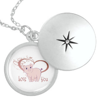 Love You, Cute Piggy Art Round Locket Necklace
