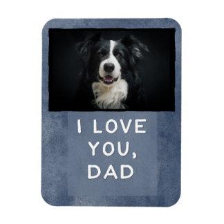 Love You Dad Custom Dark Blue Dog Photo Magnet (B)