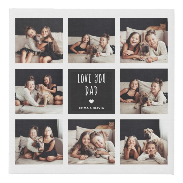 Love You Dad | Photo Collage Handwritten Text Faux Canvas Print