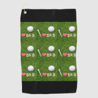 Love you dad with golf ball and tee on green golf towel