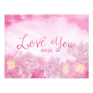 Love You Dark Pink Roses Watercolor Background Postcard