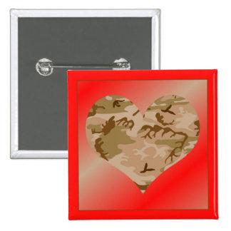 Love You Desert Sand Camo Heart Valentine Button