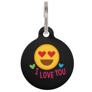 Love You Emoji Pet Name Tag