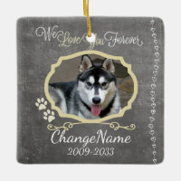Love You Forever Dog Memorial Keepsake Ceramic Ornament