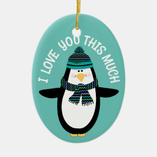 Love You Fun Penguin Christmas Gift Ceramic Ornament