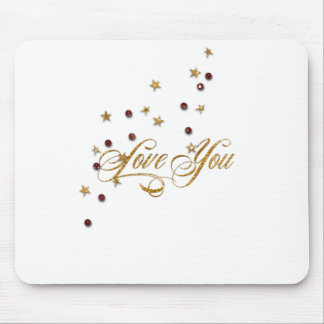 Love You Gold Glitter Mouse Pad