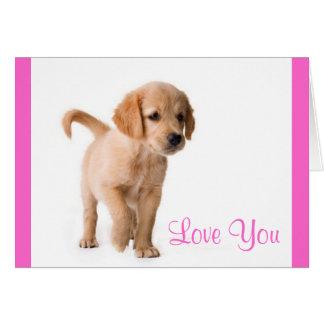 Love You Golden Retriever Puppy Dog Greeting Card