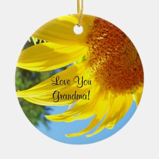 Love You Grandma! gifts Holiday Sunflower Garden Christmas Tree Ornament