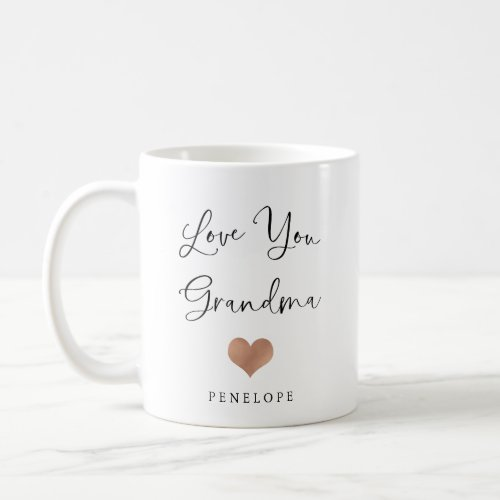 Love You Grandma  Handwritten Script and Heart Coffee Mug