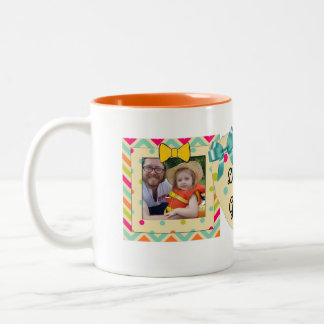 """Love You Grandma"" Photo Mug Orange, teal & Yellow"