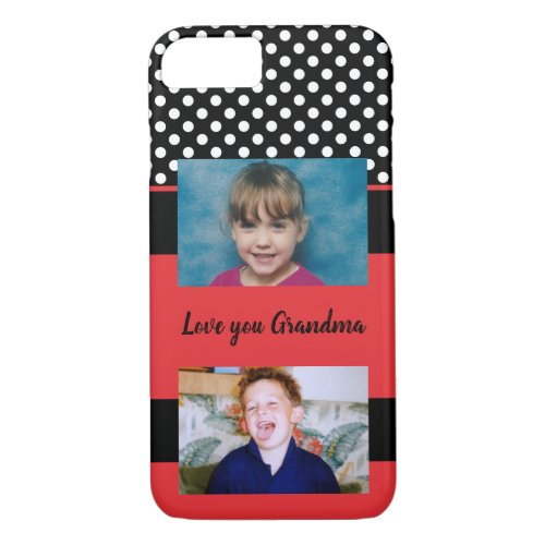Love you Grandma red and black with photos Phone Case