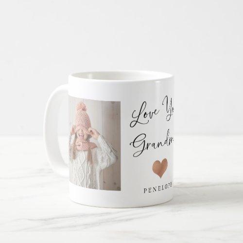 Love You Grandma  Two Photo Script and Heart Coffee Mug