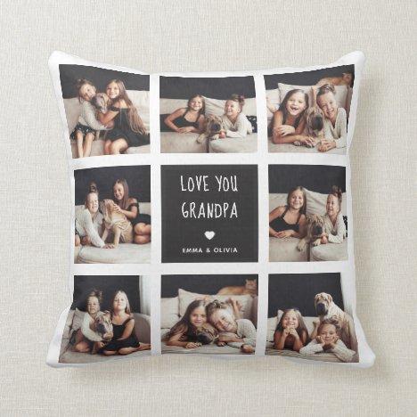 Love You Grandpa | Photo Collage Handwritten Text Throw Pillow