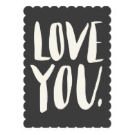 Love you Gray Scalloped Flat Card