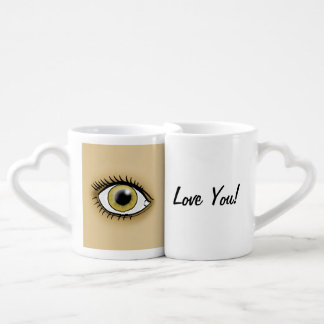 Love You Hazel Eye Icon Coffee Mug Set