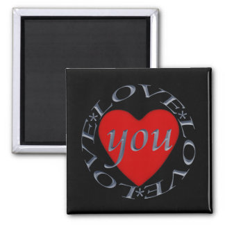 Love You-Heart 2 Inch Square Magnet
