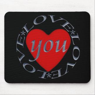 Love You -Heart Circular Design Mouse Pad