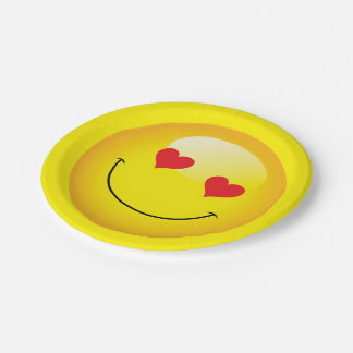 Love You Heart Eyes Cute Emoji Engagement Party Paper Plate