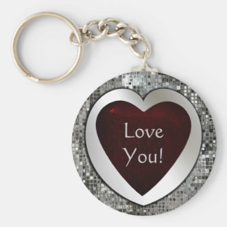 Love You! Heart Keychain