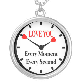 Love You in Time Silver Plated Necklace