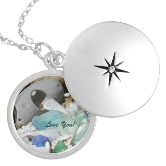 Love You Locket necklaces Blue Seaglass Mom