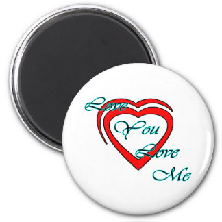 Love You Love Me Cyan Hearts Red The MUSEUM Zazzle Fridge Magnet