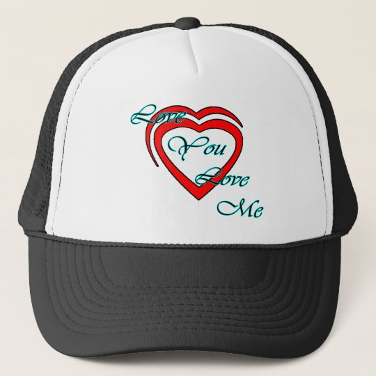 Love You Love Me Cyan Hearts Red The MUSEUM Zazzle Trucker Hat