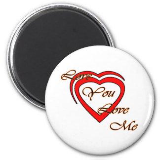 Love You Love Me Orange Hearts Red The MUSEUM Zazz Fridge Magnet