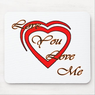 Love You Love Me Orange Hearts Red The MUSEUM Zazz Mouse Pad