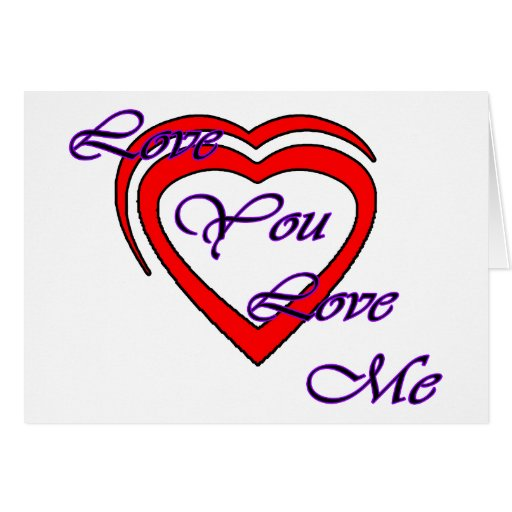 Love You Love Me Purple Hearts Red The MUSEUM Zazz Greeting Card